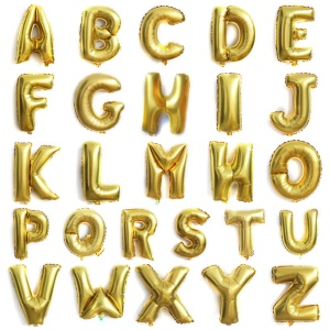 16 inch A-Z Aluminum Foil Balloons Set Party Decoration Balloons - Gold