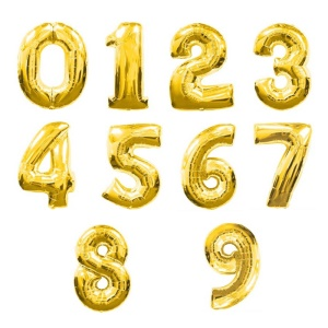 32-inch Number 0-9 Thickening Air Inflation Aluminum Foil Film Balloon for Birthday Party Wedding - Gold
