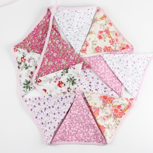 12 Triangle Flags Floral Bunting Cotton Kid's Birthday Party Decor