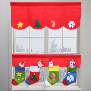 2pcs / set Porta Window Cortinas Panel Christmas Pennant Bunting Valance Socks Decoration