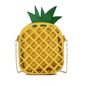 Pineapple Shape Women's PU Leather Pouch Bag Single Shoulder - Yellow