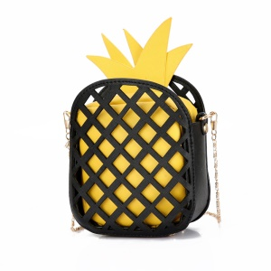 Women's Pineapple Shape PU Leather Pouch Bag Single Shoulder - Black / Yellow