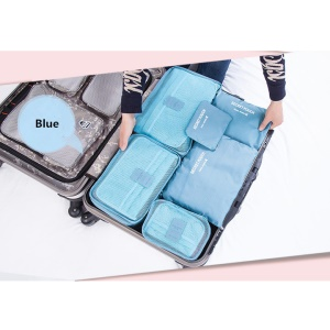 6PCS/Set Packing Cubes Travel Luggage Organizer 3 Grid Bags + 3 Flat Bags - Baby Blue