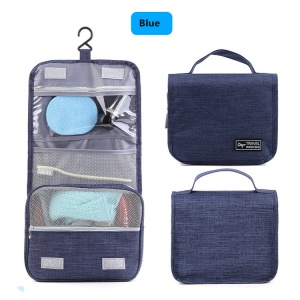 Waterproof Cosmetic Makeup Pouch Compact Hanging Travel Toiletry Organizer Bag - Blue