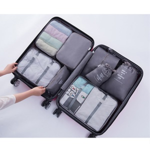 8PCS/Set Travel Organizer Bags Luggage Packing Cubes Storage Bags - Grey