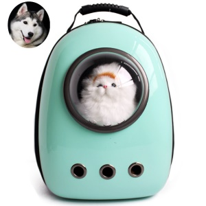 Space Capsule Bubble Pet Carrier Sac à main imperméable à la main pour chat et petit chien - Cyan