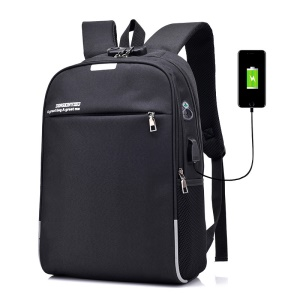 Anti-theft USB Charging Backpack School Backpack Bag Laptop Computer Bags - Black