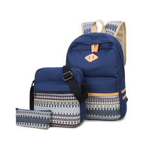 3 Pieces/Set College Style Canvas Girl Travel School Backpack + Shoulder Bag + Handbag - Blue