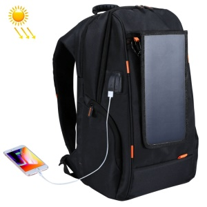 HAWEEL HWL2160 USB Solar Power Charging Backpack with 3.5mm Jack - Black