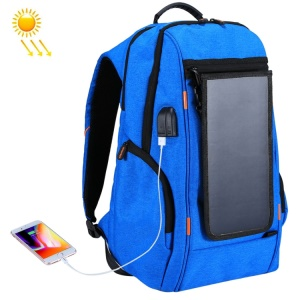 HAWEEL HWL2160 USB Solar Power Charging Outdoor Backpack with 3.5mm Jack - Blue