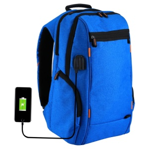 HAWEEL HWL2150 Outdoors Waterproof Double Shoulder Bag Laptop Backpack with USB Charging Port - Blue