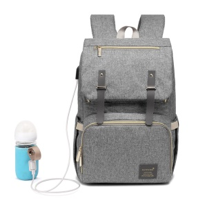 Multi-Function Large Capacity Waterproof Backpack USB Heating Travel Backpack Nappy Bags for Baby Care - Grey