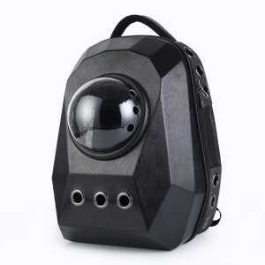 Diamond Shaped Breathable Space Cabin Pet Carrier Backpack Portable Travel Cat Dog Carrier Bag - Large Size / Black