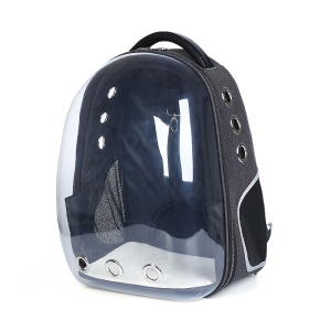 Transparent Breathable Space Cabin Cat Dog Carrier Backpack - Black