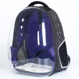 Transparent Breathable Space Cabin Dog Pet Carrier Knapsack - Dark Blue