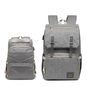 Multi-function Mummy Diaper Bag Maternity Rucksack with USB Charging Port - Grey