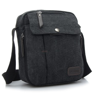 Canvas Zipper Closure Leisure Messenger Bag Single Shoulder Bag - Black
