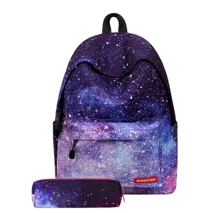 Fashion Polyester Causal Bag School Backpack Travel Bag + Pen Pouch Bag - Galaxy
