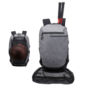 Sports Gym Bags Basketball Backpack Racket Bags with USB Port for Boys - Grey