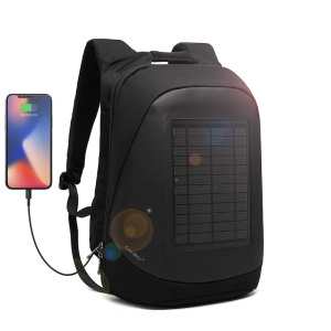 Solar Charger Backpack Multi-Function Anti-Theft 15.6 Inch Laptop Backpack with USB Charging Port - Black