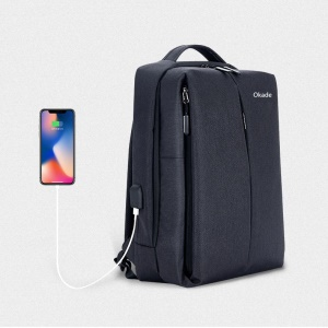 Fashion USB Charging Backpack School Backpack Bag Laptop Computer Bags - Black