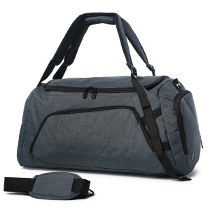 Multi-functional Large Capacity Barrel Bag Training Bag with Shoes Pocket - Dark Grey