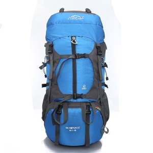Hiking Backpack 65L-Hiking & Travel Backpack with Rain Cover for Hiking, Traveling, Camping - Blue