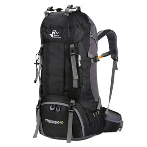 FREEDOM KNIGHT 60L Large Capacity Travel Hiking Camping Outdoor Backpack - Black