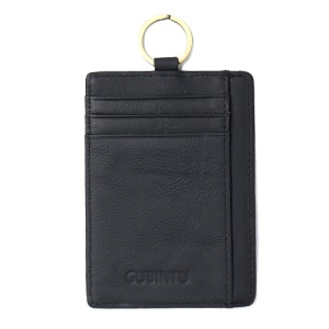 GUBINTU Men's Wallet with Card Slots and Key Ring Genuine Leather Anti-scan Money Clip - Black
