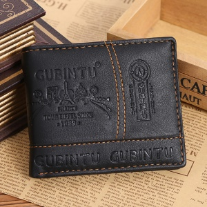 GUBINTU G009-1 Ultra-thin PU Leather Fashion Men's Short Wallet Purse