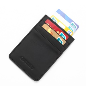 GUBINTU G111 Anti-theft RFID Protected Genuine Leather Credit Card Money ID Pocket Holder - Black