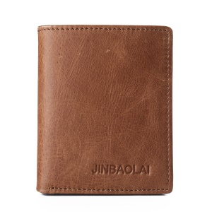 JINBAOLAI Mini Men's Short Wallet Top Layer Cowhide Leather Purse - Style B