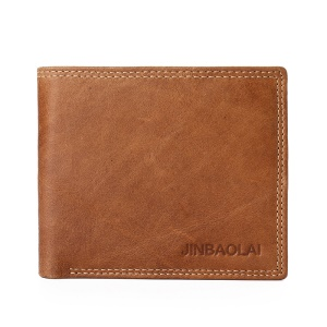 JINBAOLAI Leisure Style Top Layer Cowhide Leather Short Purse Bi-fold Wallet for Men - Brown