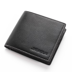 JINBAOLAI Business Style Litchi Texture Top Layer Cowhide Leather Card Slots Bi-fold Wallet Purse for Men - Black