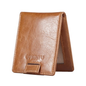 GUBINTU 751 Multi-functional Crazy Horse Texture Top Layer Genuine Leather Wallet with Card Slots - Brown