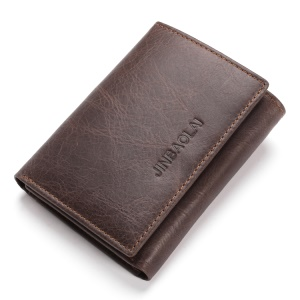 JINBAOLAI Tri-fold RFID Protected Top Layer Cowhide Leather Wallet for Men - Coffee