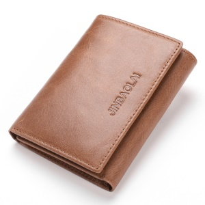 JINBAOLAI Tri-fold Top Layer Cowhide Leather Men's Wallet RFID Blocking - Brown