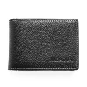 JINBAOLAI Litchi Texture Top Layer Cowhide Leather Bi-fold Business Card Credit Card Holder - Black