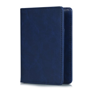 Multi-functional PU Leather Bi-fold Wallet Cover Case Passport Holder - Blue