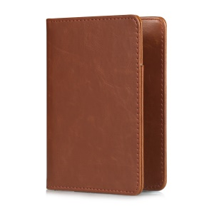 Multi-purpose PU Leather Wallet Cover Case Bi-fold Passport Holder - Brown
