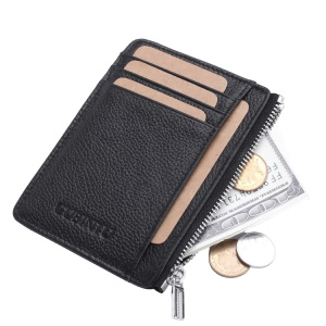 GUBINTU 417 RFID Protected Genuine Leather Wallet Credit Card Money ID Pocket Holder - Black