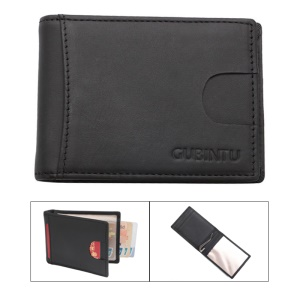 GUBINTU Anti-theft Credit Card Holder Genuine Leather Anti-magnetic RFID Money Clip for Men - Black