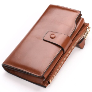 Retro Style Top-layer Cowhide Leather Tri-fold Multipurpose Card Slots Zipper Wallet for Women - Brown