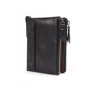 Retro Style Top-layer Cowhide Leather Card Slots Holder Purse Zipper Short Wallet - Black
