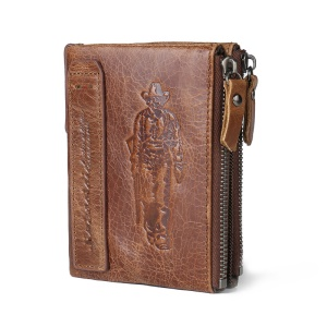 Retro Style Genuine Leather Bi-fold Short Wallet for Men