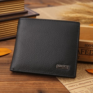 JINBAOLAI Top Layer Cowhide Leather Card Slots Bi-fold Wallet Coin Purse for Men - Black