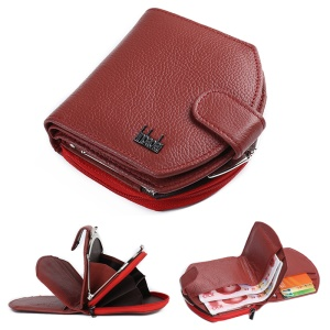 Tri-fold Genuine Leather Short Wallet Purse Card Slot Organizer for Women - Red
