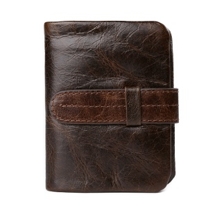 Retro Style Genuine Leather Bi-fold Wallet with Secure Belt