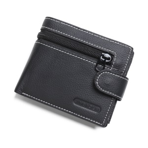 JINBAOLAI Genuine Cowhide Leather Purse Bi-fold Cards Casual Business Wallet for Men - Black