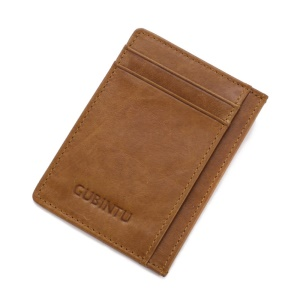 115# Men Classic Genuine Leather Coin Multi Card Slots Wallet - Brown